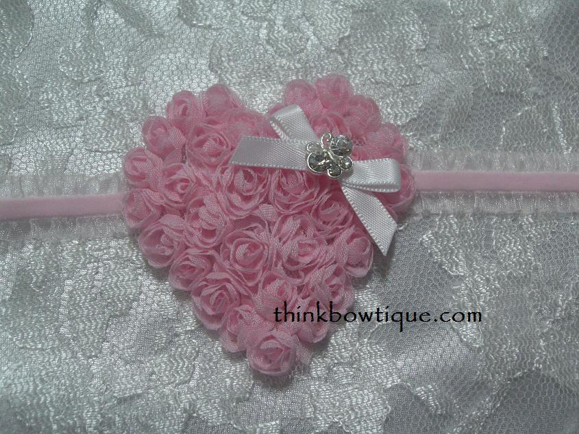 7x7cm rose mesh heart on velvet frill elastic headband