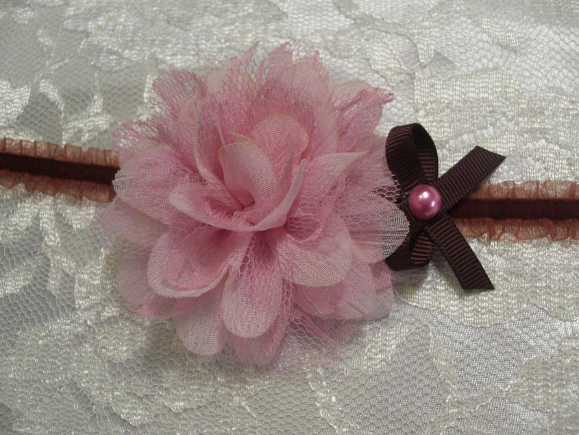 Chiffon lace flower on double frill velvet elastic