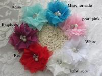 6.5cm Emily chiffon beaded flower