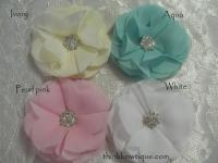 8cm Chiffon petal flower with rhinestone embellished centre