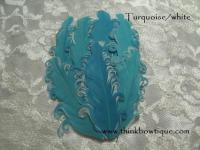 Nagorie curly feather Hackle pads Turquoise/white