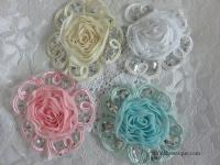 Round applique sequin flower trim Australia