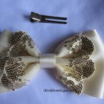 Make a sequin lace bow with satin ribbon