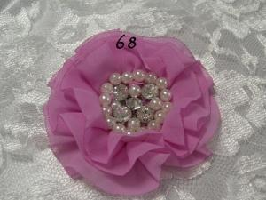 Parisian chiffon rhinestone and pearl flower
