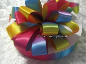 Rainbow ribbon 25mm Printed Double sided satin