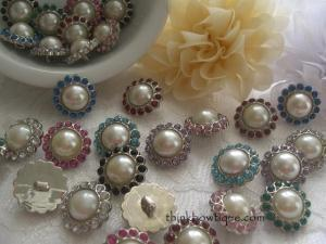 20mm Rhinestone pearl buttons