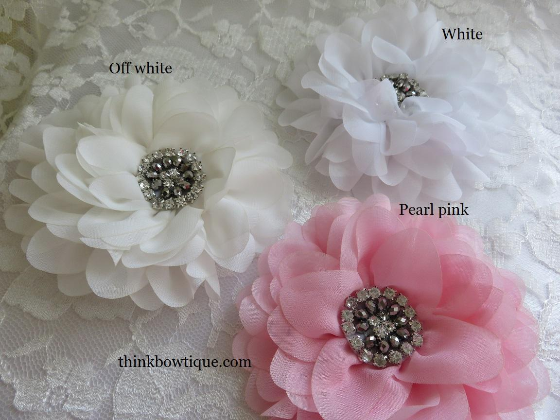 12cm Dahlia Chiffon Flower With Rhinestone Embellished Centre
