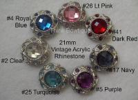 21mm Acrylic vintage rhinestone buttons.