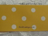 yellow gold white dots printed grosgrain ribbon