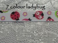 7 colour lady bug printed grosgrain ribbon