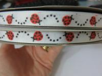 9mm lady bug printed grosgrain ribbon