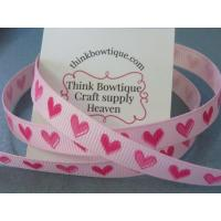 9mm hearts 156/175 on pearl pink printed grosgrain ribbon