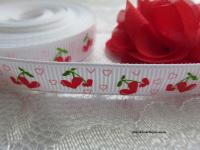 9mm cherry hearts printed grosgrain ribbon