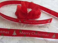 Merry Christmas printed grosgrain ribbon