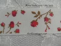 9mm rose bud printed grosgrain ribbon