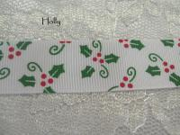 22mm Christmas Holly printed grosgrain ribbon