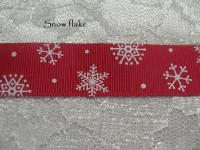 Snow flake printed grosgrain ribbon