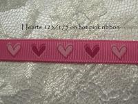 hearts on hot pink printed grosgrain ribbon