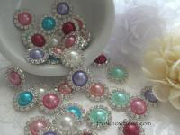 20mm Metal rhinestone and pearl flatback embellishment