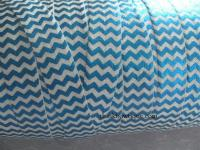 blue metallic chevron printed on white FOE