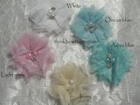 Mini Tiffany chiffon lace square rhinestone and pearl flower